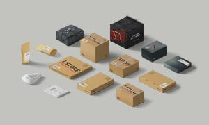 布袋与纸质包装盒贴图分层模板素材