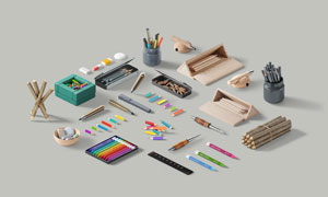 钢笔与铅笔等文具展示效果贴图模板