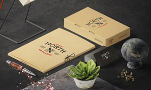 植物名片与纸质包装盒贴图分层模板