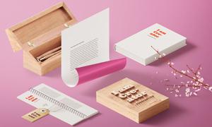吊牌书籍与木质文具盒贴图分层模板