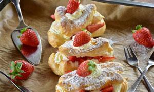 西式草莓甜点近景特写摄影高清图片