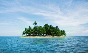 大海上的小岛椰树风光摄影高清图片