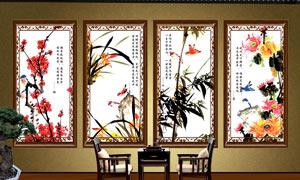 梅兰竹菊山水古画壁画设计PSD素材