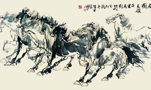 中国风水墨骏马图设计PSD源文件