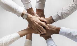 手搭在一起的团队人物创意高清图片