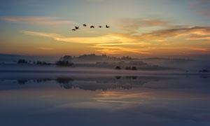 朦胧雾气中的湖泊风光摄影高清图片