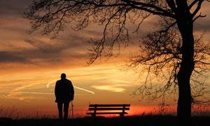 夕陽下拄著拐杖的老人剪影高清圖片