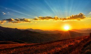 快落山的夕阳美景风光摄影高清图片