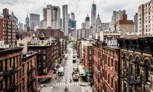 美国纽约城市街道建筑鸟瞰摄影图片