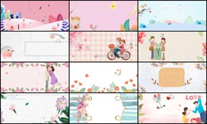 12张手绘花朵主题淘宝背景PSD素材