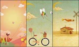 秋季手绘主题海报背景设计PSD素材