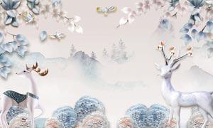 梅花鹿主题3D电视背景墙PSD素材