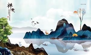 插画主题电视背景墙设计PSD源文件