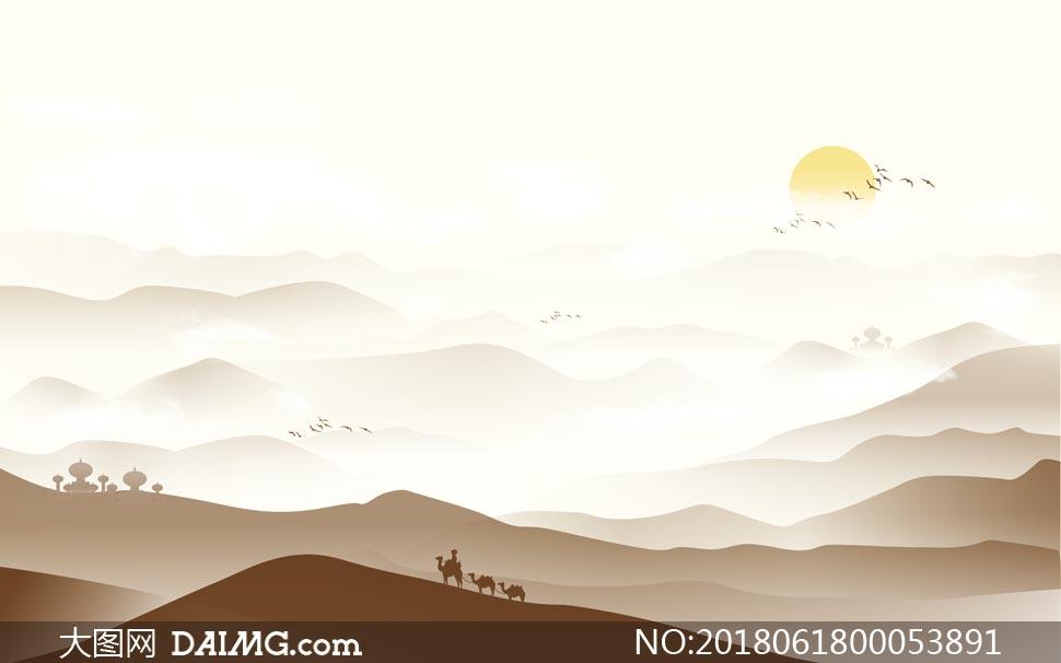 中国风山顶云雾广告背景PSD源文件