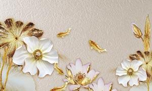 金色花朵3D电视背景墙设计PSD素材