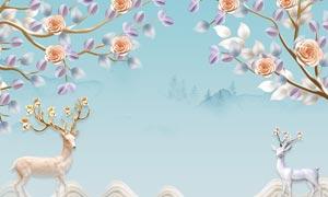 花枝和梅花鹿主题电视背景墙PSD素材