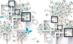 手繪花朵立體電視背景墻設計PSD素材