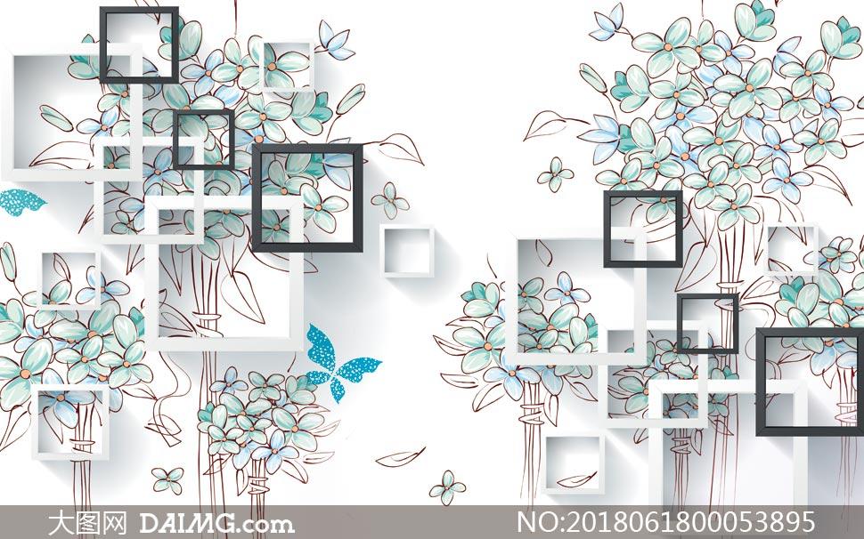 手绘花朵立体电视背景墙设计psd素材