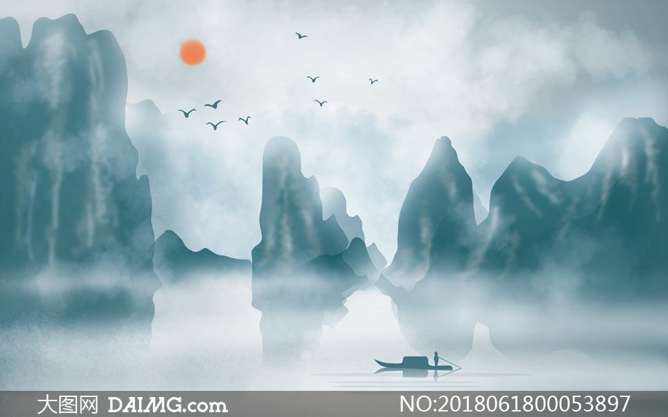 中國風山水電視背景墻設計PSD素材