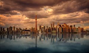 水面上倒影的城市风光摄影高清图片