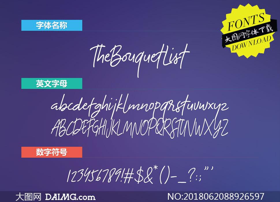 TheBouquetList系列三款英文字体