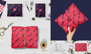 礼物简易包装效果用纸贴图分层模板