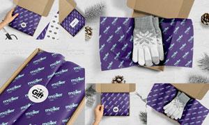 精美手套产品包装盒开箱贴图源文件