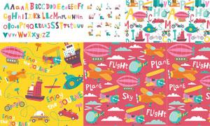 卡通英文字母与无缝背景等矢量图