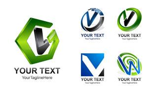 立体效果英文字母标志设计矢量素材