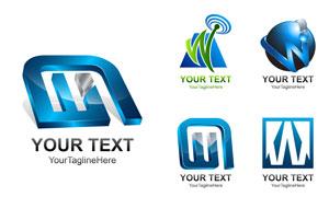 蓝色科技风格标志创意设计矢量素材