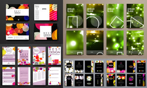 光斑与几何元素等彩页设计矢量素材