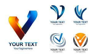 蓝色与橙色的标志创意设计矢量素材