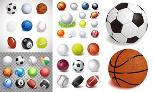 橄榄球足球等运动用球主题矢量素材