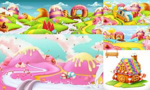 冰淇淋甜甜圈场景插画创意矢量素材