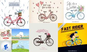 单车与骑行的人物创意设计矢量素材