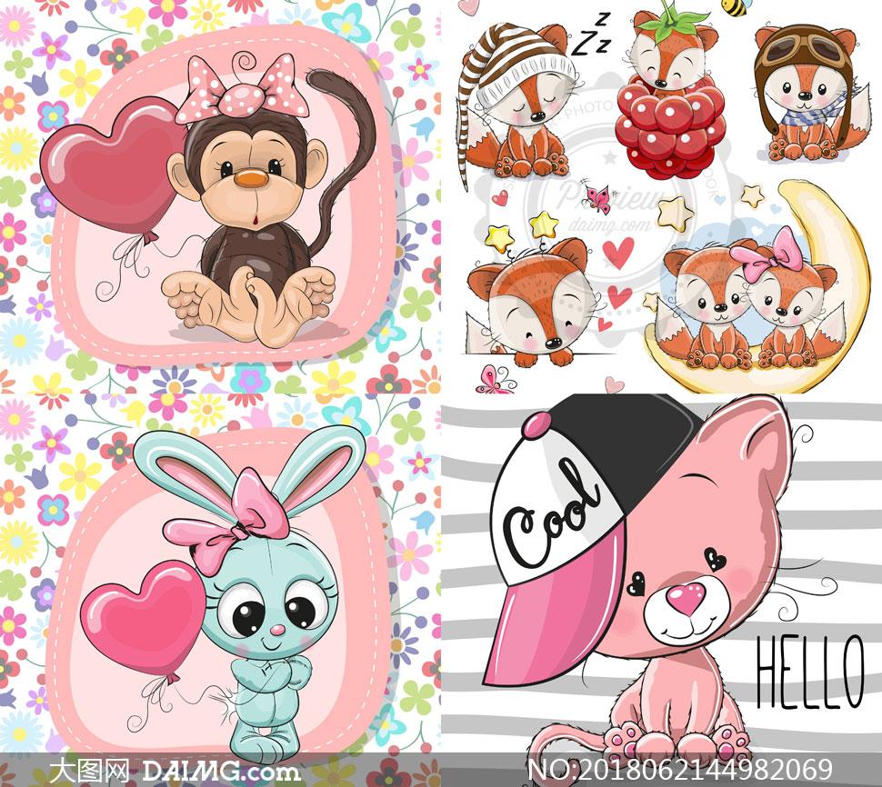 可爱小熊与猴子等卡通插画矢量素材