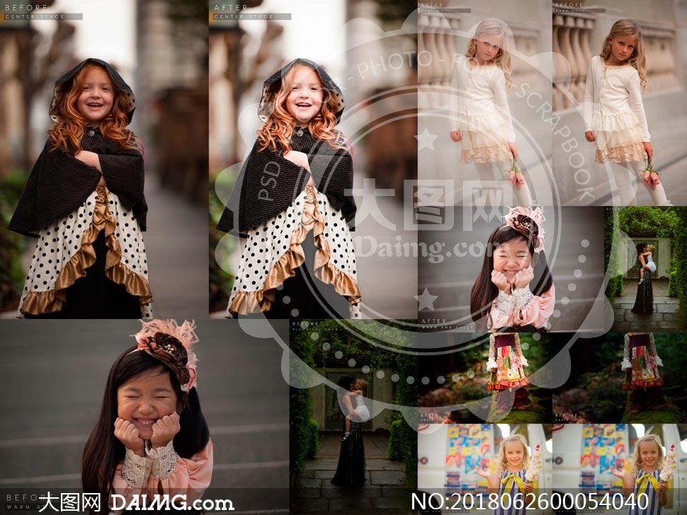 欧美儿童照片甜美暖色效果LR预设