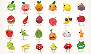 拟人化的表情水果创意大红鹰娱乐矢量素材