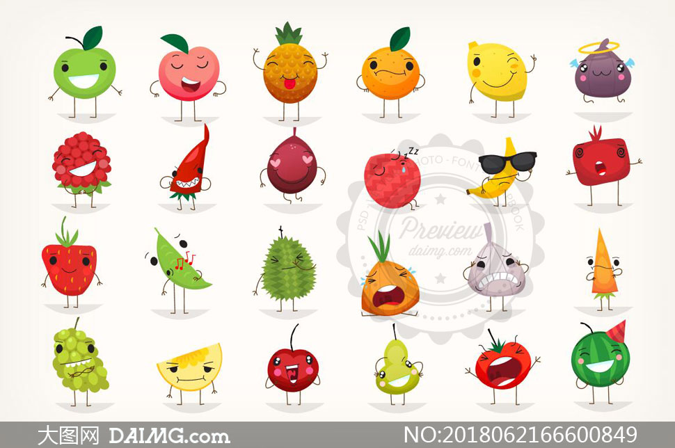 拟人化的表情水果创意设计矢量素材