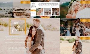 婚礼照片金黄色主题暖色效果LR预设