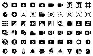 图像摄影与视频播放等图标矢量素材