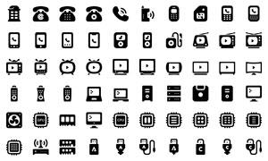 手机与电视等电子设备图标矢量素材