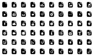 多款黑白色文件格式等图标矢量素材