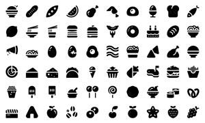 面点与水果等图标创意设计矢量素材