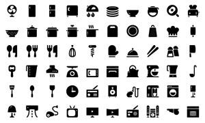 碗碟與電視等居家用品圖標矢量素材