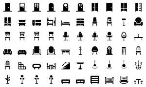 椅子與吊燈等家具裝飾圖標矢量素材