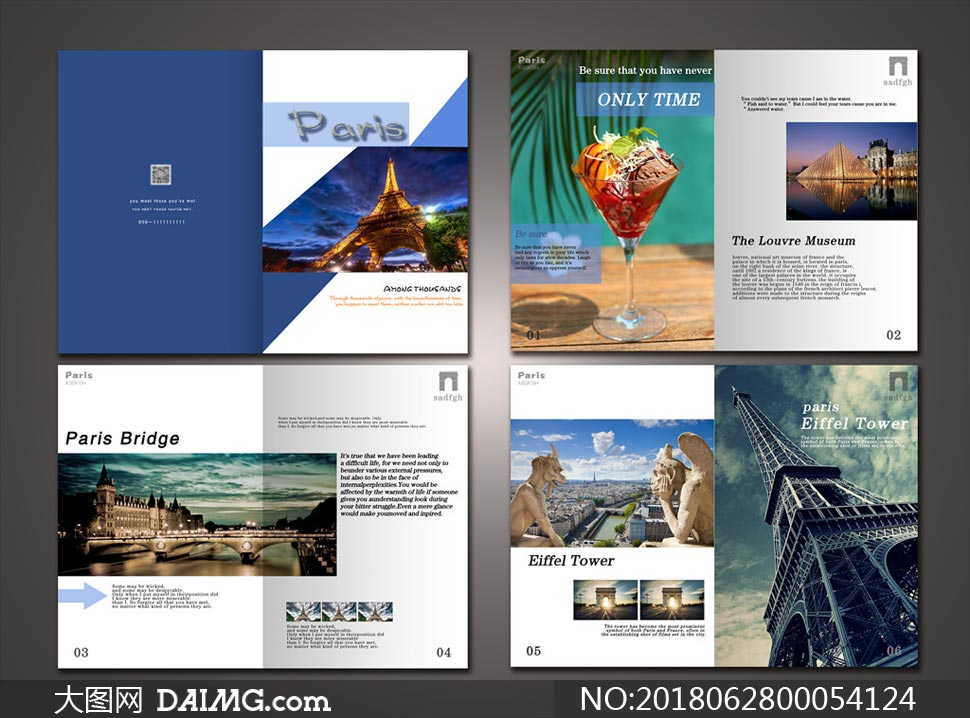 蓝色旅游主题画册设计psd源文件