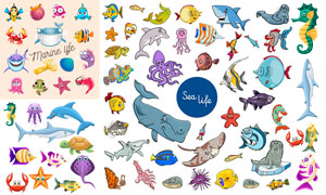 鲨鱼与海马等卡通海洋生物矢量素材