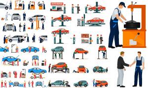 汽车与维修工人物主题设计矢量素材