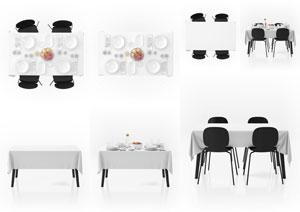 餐桌上的桌布图案应用效果贴图模板